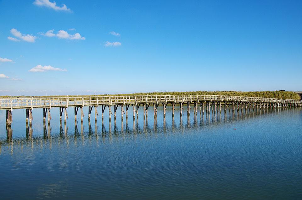 長生村にある木造の中瀬大橋の画像