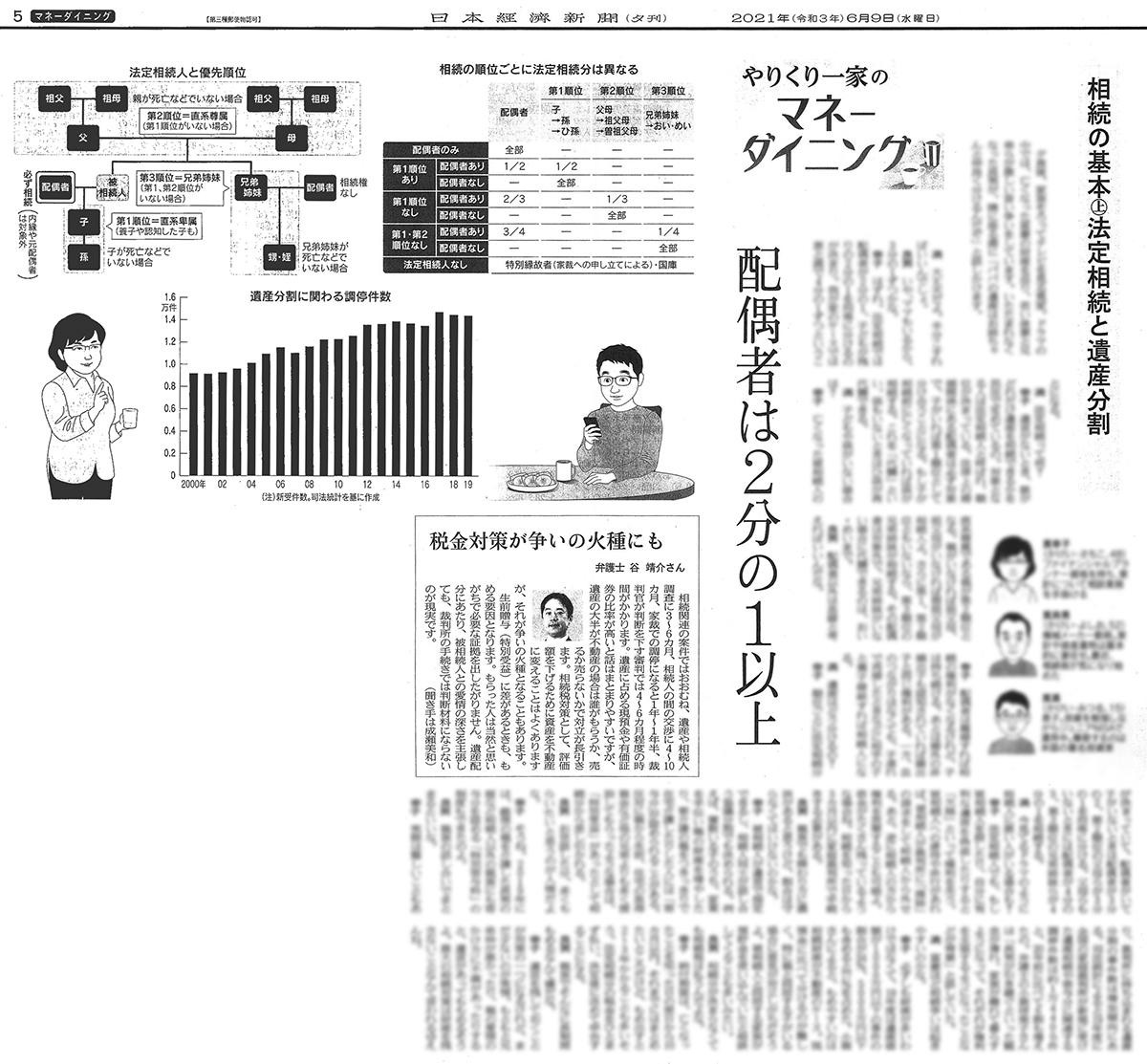 2021年6月9日日本経済新聞夕刊:やりくり一家のマネーダイニング記事